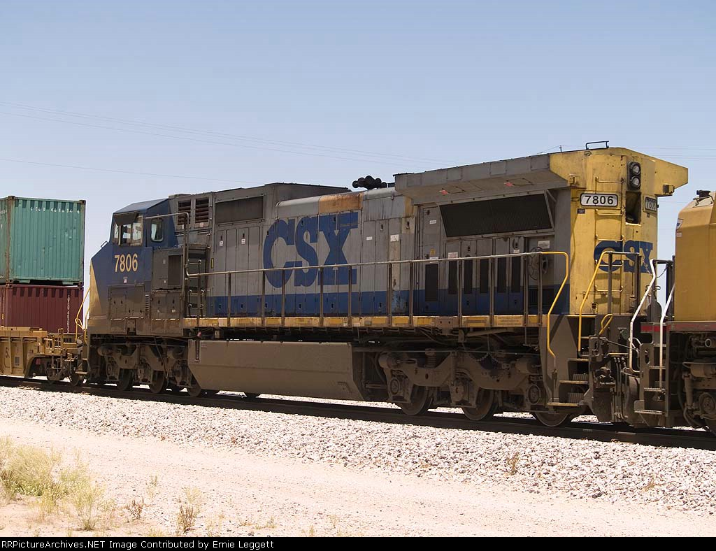 CSX 7806 #3 power in an EB doublestack at 12:40pm