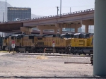 UP 9663 #3 power in a WB intermodal at 1:30pm