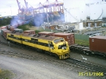 Two Clyde/Emd A16c's accelerate out of Patricks Terminal @ Port Botany