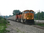 BNSF 9851 & 9383 leading the first N956 of this contract through the sag