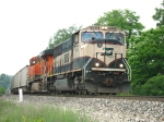 BNSF 9806 & 5729 lugging N956-03 out of town
