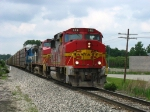 BNSF 146 leading Q326-04 with BNSF 642 & EMDX 9030 behind
