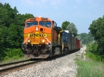 BNSF 5637 & CSX 7722 rolling out of town with Q326-07