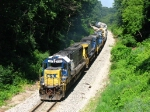CSX 8562 leading Q326-09 east through a canyon of trees