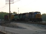 CSX 777 & BNSF 7153 with two cars for the headend of tonight's Q334