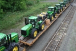 "Only a few of the many John Deere Tractors on the 36A on ""A"" track inbound to Enola Yard."