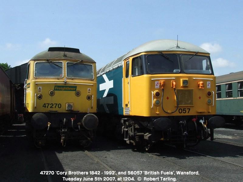 47270 'Cory Brothers 1842 - 1992', alongside 56057 'British Fuels'.