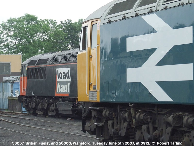 56057 in large logo livery, and 56003 in load haul livery.