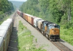 CSX 4815 With Eastbound Manifest Meets Westbound Autorack Train at 2:18 PM