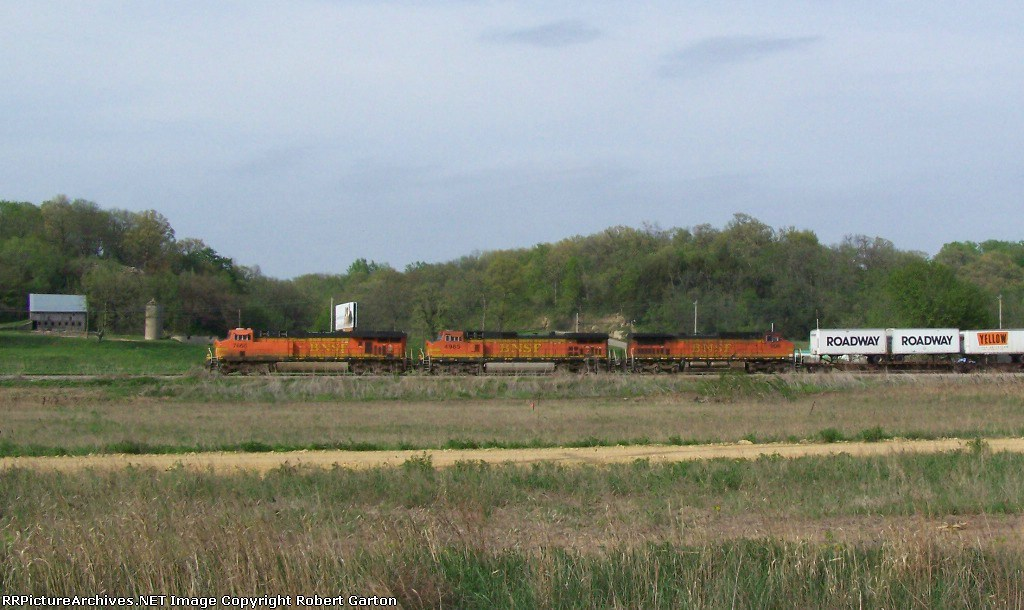 A Variety of BNSF Power Leads a Piggyback Train North