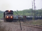 NS 9169 Leads Mixed Freight Out of Town