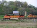 BNSF 4137 Passes in Front of an Old Barn and Silo