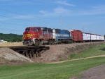 BNSF 146 & An EMDX Leaser Tow Freight North/West