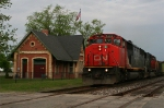 CN 5432 passing the depot and Old Glory