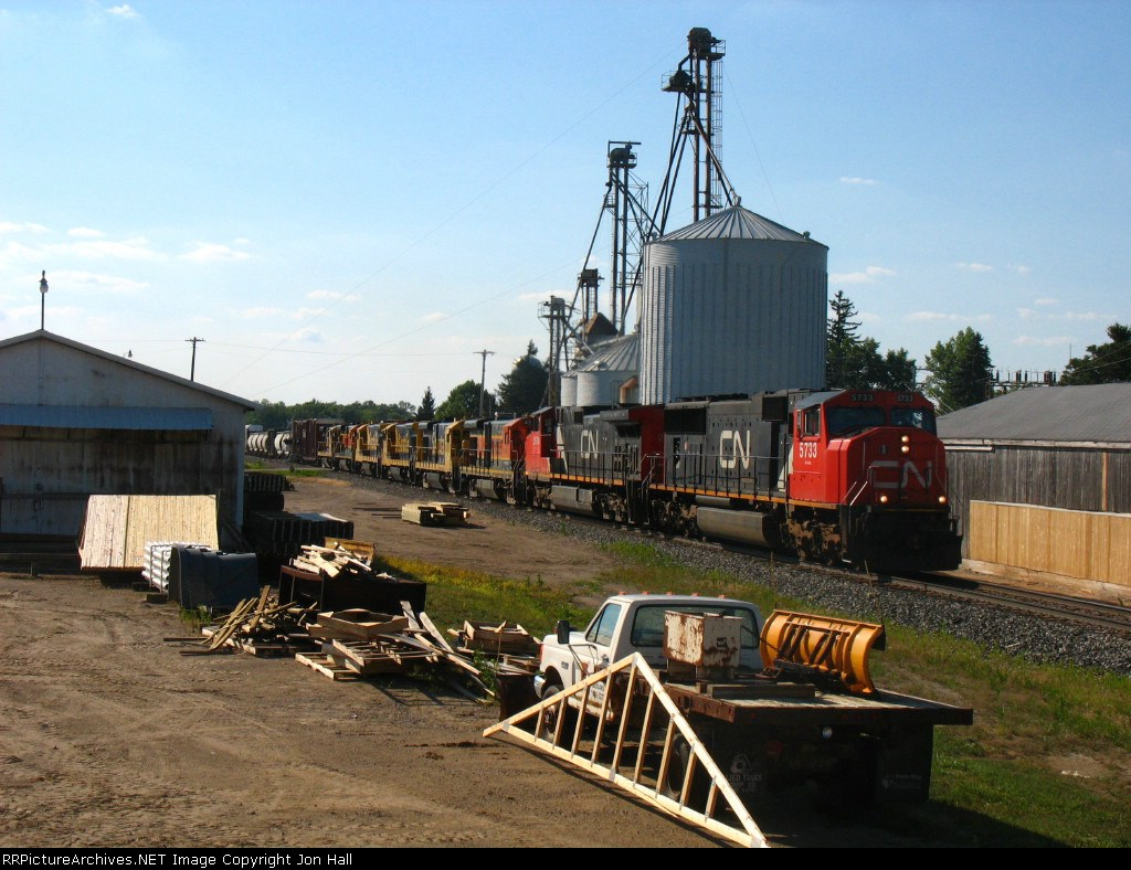 CN units repaying horespower hours and 6 BNSF B23-7's make for an awesome consist on X500-21