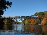 CSX 7919 & 5389 soaring over the Grand River amid the fall colors with K908