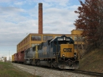 CSX 8627 & 8788 heading east with Q326's 3 empty centerbeam flatcars