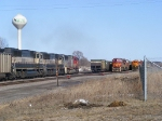 Loaded coal train passing a coal empty and the Cass Lake Local