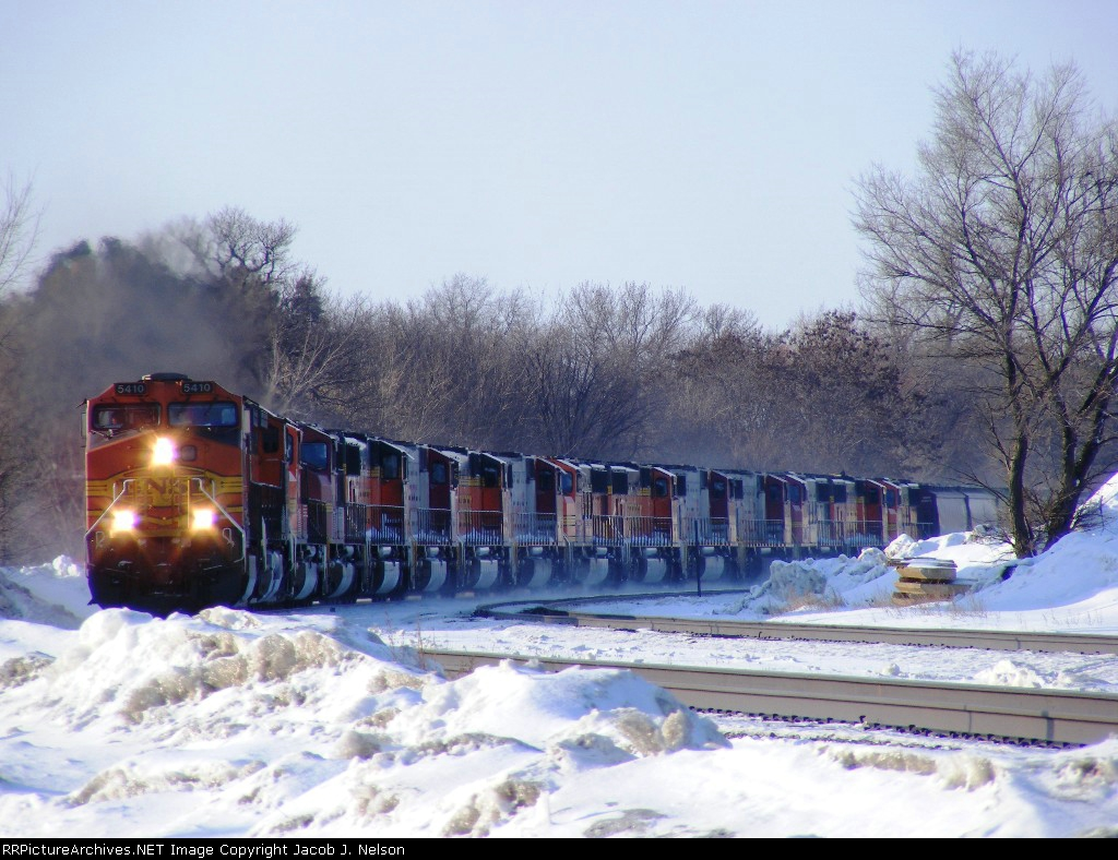 BNSF 5410 with another C44-9W, and 13 SD75's!