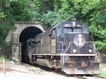 Illinois Central #1011 Leads the Way out of the East Dubuque Tunnel