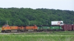Two Sets of BNSF Twins (C44-9W's & SD40-2's) Lead Mixed Freight North/West