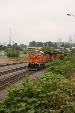 BNSF 5998 Heads back north with a string of empty coal hoppers