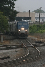 Amtrak 202 (GE P42DC) heads north after leaving the Atlanta Station as it gets ready to cut the diamond