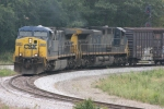 CSX 545 (AC4400CW) rounds the upper wye as he pulls to a stop prior to the diamond