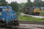 NS Patch 8420 (Dash 8-40CW) comes south & CSX 545 (AC4400CW) sit awaitning for UP 4888 to clear the diamond