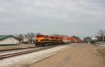 KCS 4111 leads the westbound IVNKC (aka) the Schneider train through downtown around 1:30pm.
