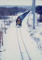1389-21 Westbound C&NW coal train approaching Valley Park