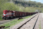 WSOR 3808 on a unit grain train being loaded