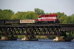 WAMX 4219 hauls the L863 across the Lake Wisconsin bridge
