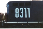 Long hood shot of font used by G&O Railways in the 1990s shortly after changing from red to black scheme.