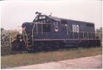 HS 110 is a former MKT Geep in official G&O Railway black colors in the empty West Dothan Industrial Park