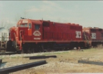 Start up power on the Wiregrass Central included a newly painted and very red ex IC GP40 and several ex SP and Chessie GP units.