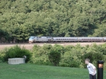 AMTK 133 leads westbound Pennsylvanian through Horseshoe Curve