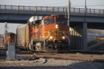 Eastbound BNSF 5323 leading an autotrain out of Northtown