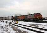 Eastbound BNSF Stack Train leaving Northtown Yard in a hurry!