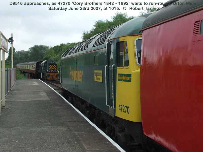 47270 waits at Orton Mere as D9516 enters the station.