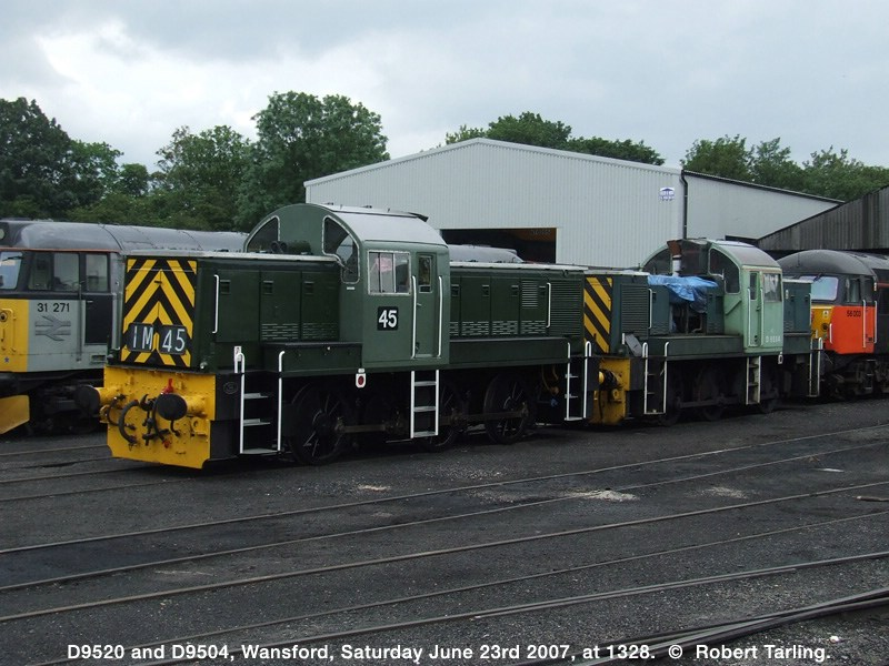 D9520 and D9504 on shed at Wansford.