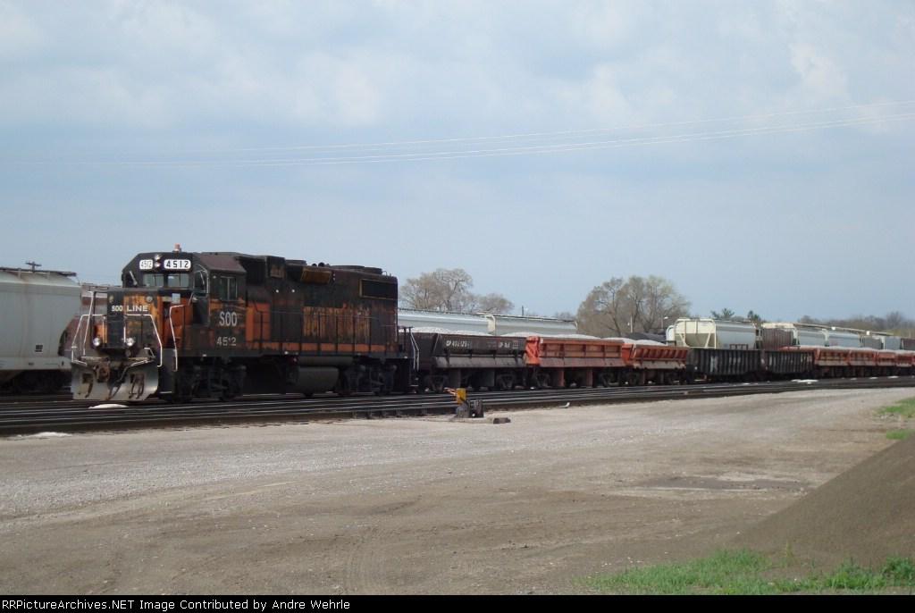 SOO 4512 and ballast train