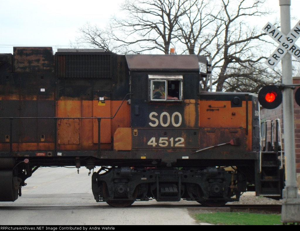 SOO 4512 southbound with ballast loads for the Madison branch