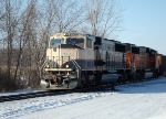 BNSF 9768 leads 882 past the north wye switch for the industrial lead