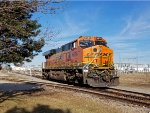 BNSF 6826 pauses outside the Speedway on its light engine run back north to Portage