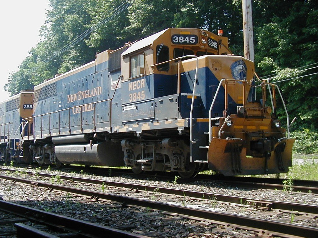NECR 3845 right front from low angle parked on yard siding 6-26