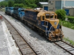 NECR 3844 & 5032, GSCX 7369 shut off & parked on loco track in yard