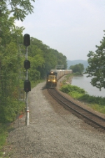 CSX Autorack train heads down the River Line
