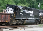 NS 4131 with 4122 have a MOW train in the yard