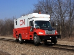 CN MoW truck checks the track alignment as they prepare for the increase rail traffic to begin soon on EJ&E Eastern Subdivision.